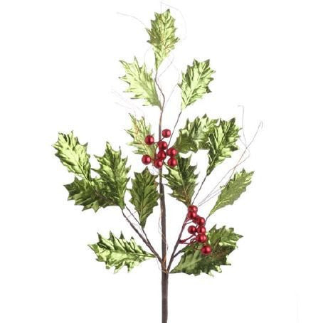 RAZ Imports - Metallic Green Holly with Red Berries Spray 27""