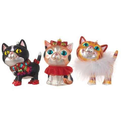 "RAZ Imports - 4.5"" Cat Ornaments - Set of 3"