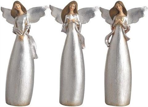"TII - 11"" Resin Elegant Shimmering Angels - Set of 3"