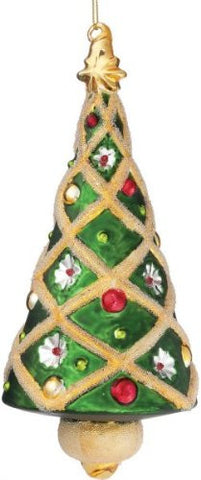 Sullivans - Multicolored Glass Cone Shaped Tree Ornament 8""