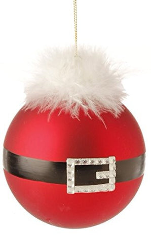 "RAZ Imports - 4.5"" Santa Belt Ball Ornaments - Set of 2"