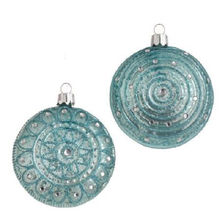 RAZ Imports - Glittered Blue Medallion Ornaments