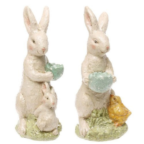 "RAZ Imports - 13"" Bunnies with Easter Eggs (Set of 2)"