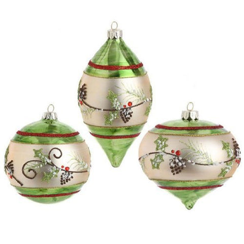 Glittered Holly Pinecone Ornament Set of 3