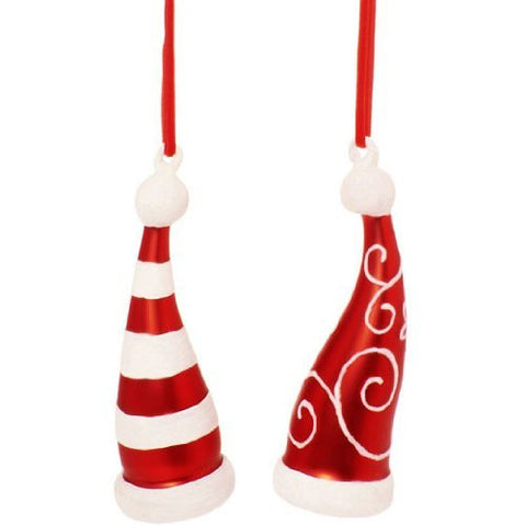 RAZ Imports - Flocked Glass Santa Hat Ornaments 5""