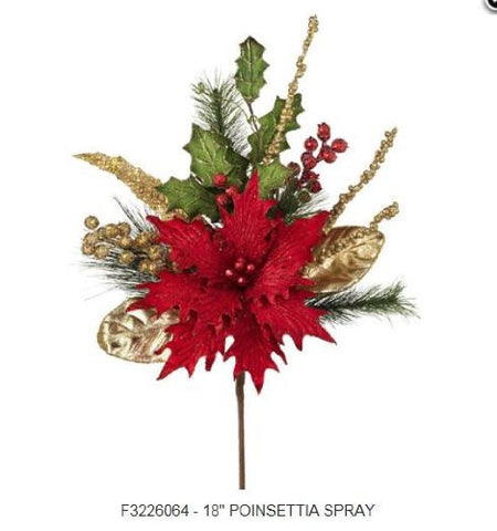 RAZ Imports - Red Poinsettia Spray 18""