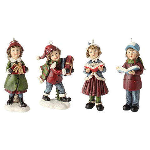 "RAZ Imports - 3.5"" Christmas Caroling Children Christmas Tree Ornaments - Set of 4"