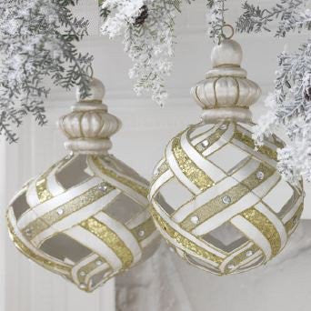 RAZ Imports - Gold, Silver and Pearl Lattice Ornaments