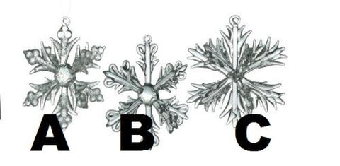 Sullivans - Clear Crystal 3-Dimensional Snowflake Ornaments