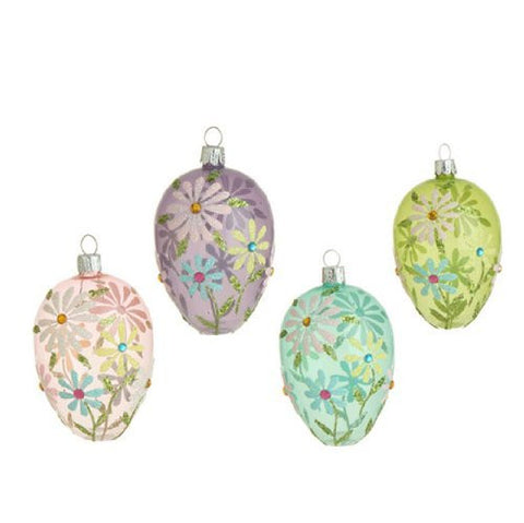 "RAZ Imports - Set of 4 - 4.5"" Easter / Spring Flower Decorated Egg Ornaments"