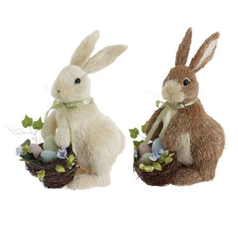 "RAZ Imports - Set of 2 - 13"" Easter Bunny with Easter Egg Basket"