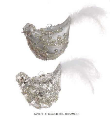 RAZ Imports - Silver Beaded Bird Ornaments