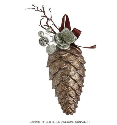 RAZ Imports - Brown Pinecone with Glittered Silver Accents Ornament 8""