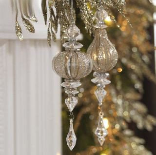RAZ Imports - Clear Glass Drop Ornaments with Gold Accents