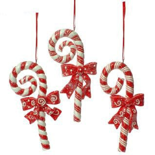 RAZ Imports - Candy Cane Ornaments with Bows 5""