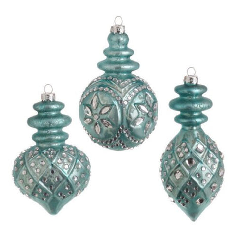 RAZ Imports - Antiqued Blue Glass Ornaments