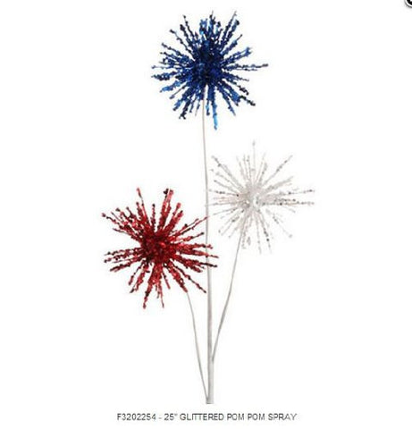 RAZ Imports - Red, White and Blue Patriotic Pom Pom Spray 25""