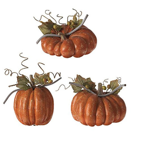 "RAZ Imports - Fall / Thanksgiving 8.5"" Orange Pumpkins - Set of 3"