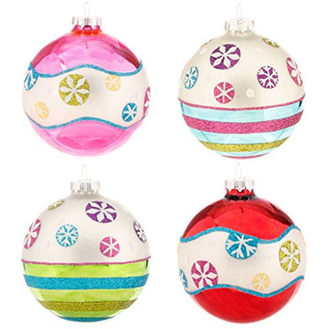 "RAZ Imports - 4"" Glittered Snowflake Ball Ornaments - Set of 4"