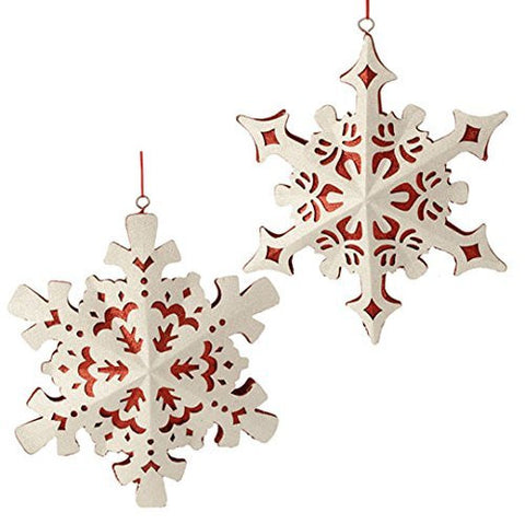 "RAZ Imports - 11"" Glittered Snowflake Ornaments - Set of 2"