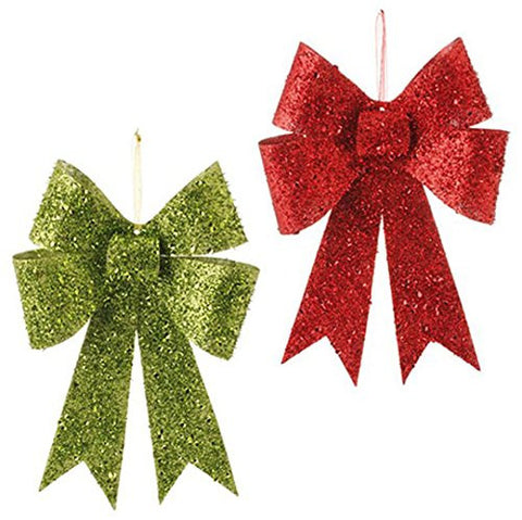 "RAZ Imports - 12.5"" Glittered Bow Ornaments - Set of 2"