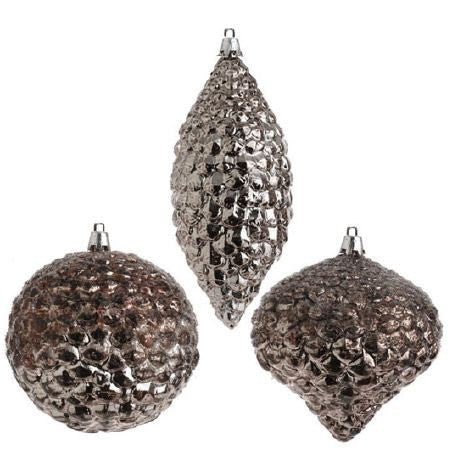 RAZ Imports - Antiqued Silver Pinecone Ornaments