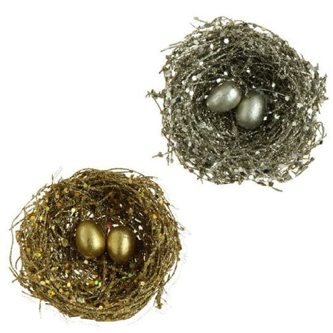 RAZ Imports - Gold and Tiffany Bird's Nest Clip-On Christmas Tree Ornaments - Set of 2