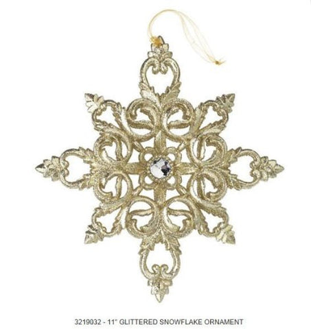 RAZ Imports - Tiffany Colored Gemmed Snowflake Ornament 11""