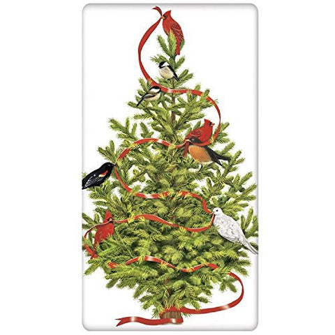 Mary Lake-Thompson - Bird Decorated Christmas Tree Bagged Towel