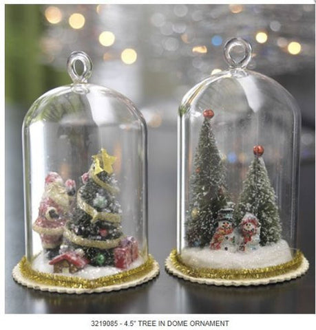 RAZ Imports - Christmas Tree in Glass Dome Ornaments