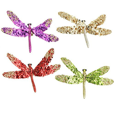 "RAZ Imports - 6"" Clip-On Dragonfly Ornaments - Set of 4"