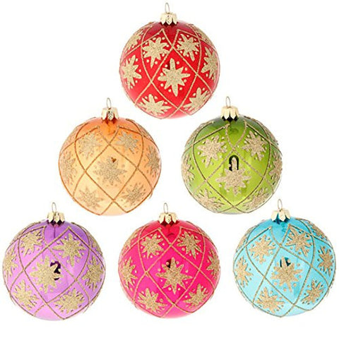 "RAZ Imports - 4"" Glittered Ball Ornaments - Set of 6"