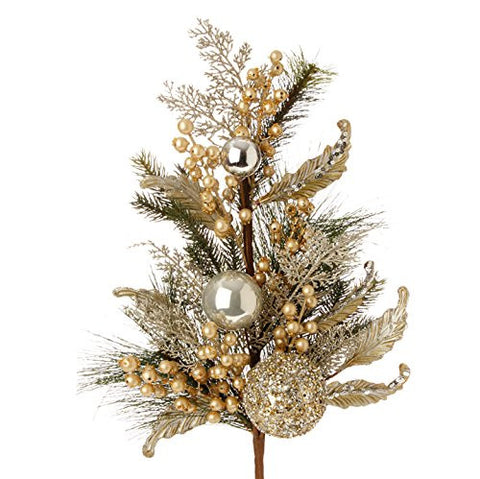 "RAZ Imports - Formal Affair - 28.5"" Pine with Gold Ball Spray"