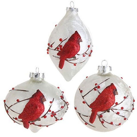 "RAZ Imports - 4"" Cardinal Ornaments - Set of 3"