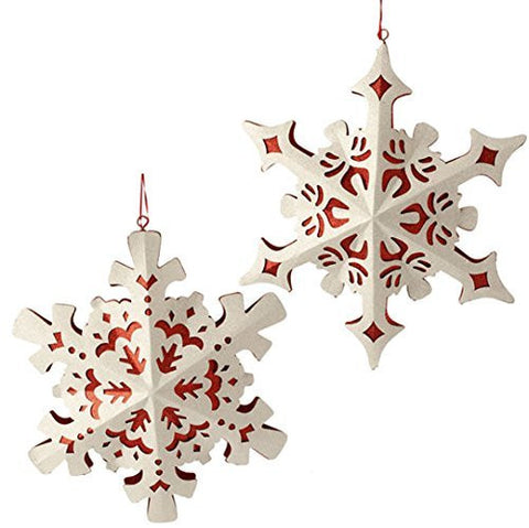 "RAZ Imports - 15"" Glittered Snowflake Ornaments - Set of 2"