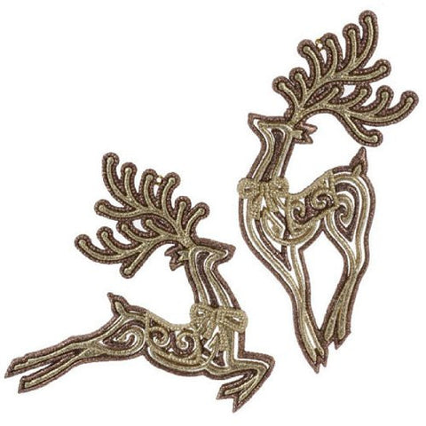 "RAZ Imports - Bronze Leaping Deer Ornaments 7.5"" 2 sets of 2"