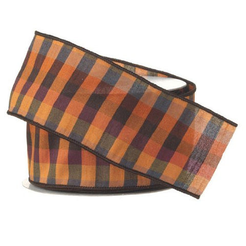 RAZ Imports - Orange & Black Multi-Checked Wire-Edged Ribbon