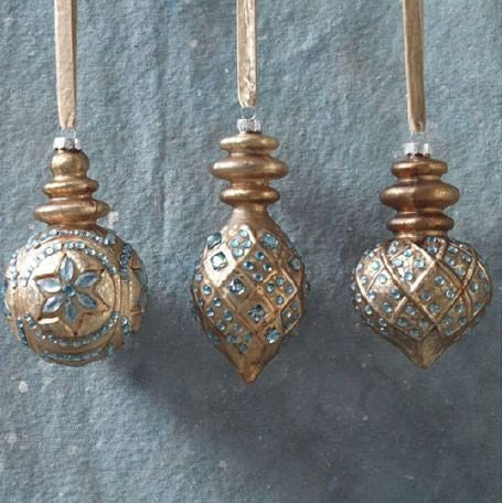 RAZ Imports - Brown and Silver Jeweled Glass Ornaments