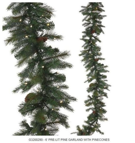 RAZ Imports - Lighted Pine Garland with Pinecones 6'