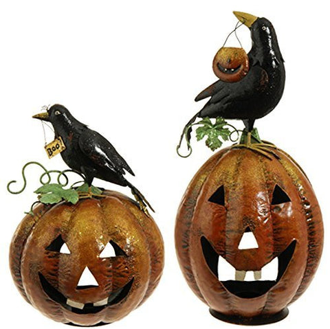 RAZ Imports - Natural Halloween - Jack O' Lantern / Pumpkin with Crow