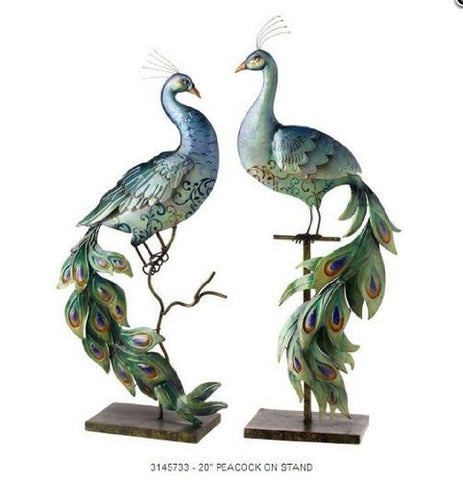 "RAZ Imports - 20"" Peacocks on Stands"