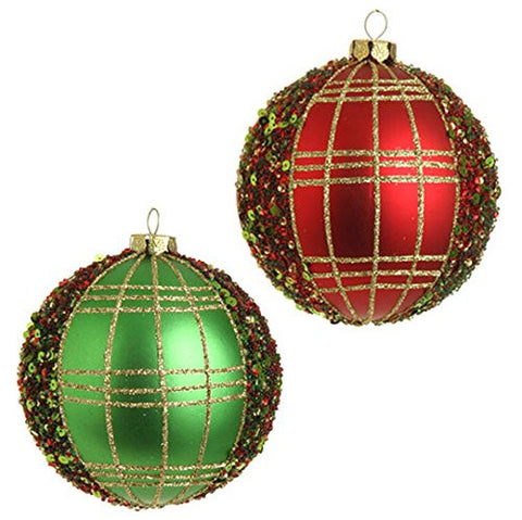 "RAZ Imports - 4"" Glittered Ball Ornaments - Set of 2"