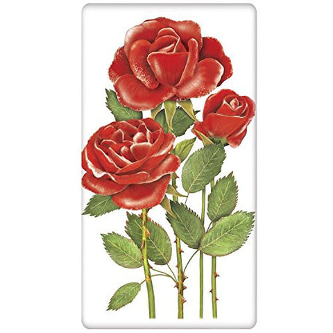 Mary Lake-Thompson - Mothers Day - Red Roses - Bagged Flour Sack Towel
