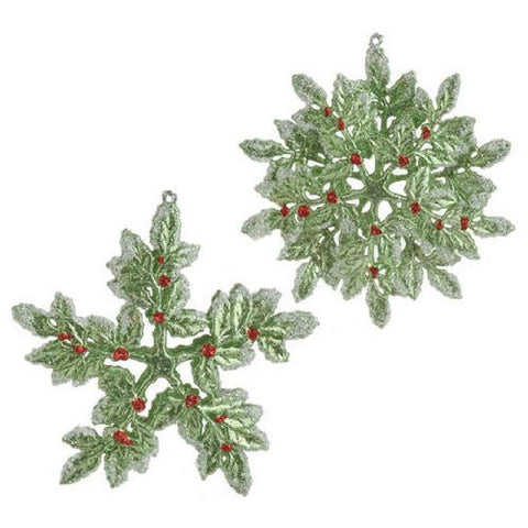 RAZ Imports - Green Holly Frosted Snowflake Ornaments