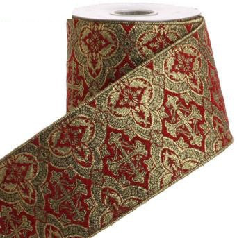 RAZ Imports - Burgundy and Gold Metallic Brocade Wire Edge Ribbon