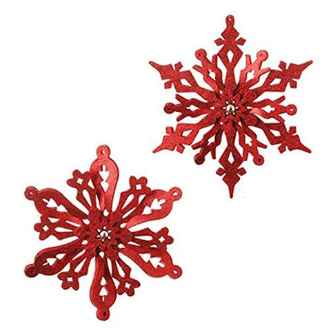 "RAZ Imports - 14"" Glittered Snowflake Ornaments - Set of 2"