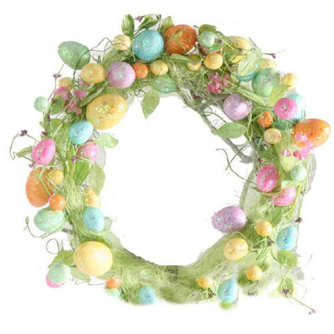 "RAZ Imports - 20"" Glittered Easter Egg Wreath"