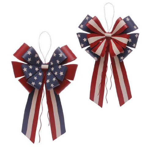 RAZ Imports - Red, White & Blue Metal Hanging Patriotic Bows 13.5""