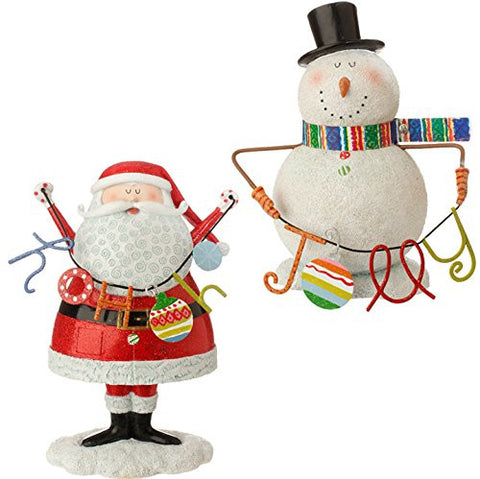 "RAZ Imports - Merry & Bright - 7.5"" Santa and Snowman Decorative Christmas Ta..."