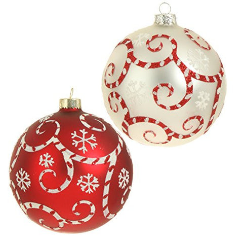 "RAZ Imports - 4"" Glittered Peppermint Red & White Swirl Ball Christmas Tree Ornaments - Set of 2"